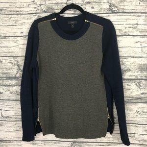 J. Crew Navy Olive Green Colorblock Zipper Sweater